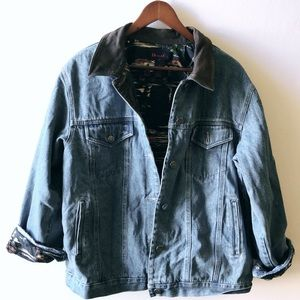 Jean jacket w/ suede collar and printed lining